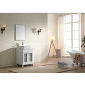 24'' Wide Single Vanity Set; Counter Top, Mirror & Cabinet w/ Carrara White Marble Top, White Finish, 24''W x 21-11/16''D x 36-5/8''H