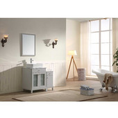 36'' Wide Single Vanity Set; Counter Top, Mirror, & Cabinet w/ Carrara White Marble Top, Light Grey Finish, 36''W x 21-11/16''D x 36-5/8''H