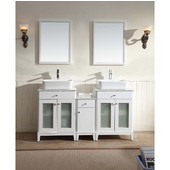 60'' Wide Double Vanity Set w/ 2 Counter Tops, 2 Cabinets, Linen Cabinet, Linen Counter Top, 2 mirrors, w/ Carrara White Marble Top; White Finish, 60''W x 21-11/16''D x 36-5/8''H