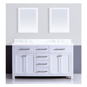 59'' W Milan Solid Wood Framed Bathroom Vanity Base Cabinet With Plywood Interior, Mdf Doors And Drawers, Self Soft Closing Door Hinges And Undermount Drawer Slides In Pure White