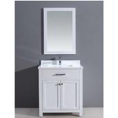 30'' W Milan Bathroom Vanity Set: Counter Top, Sink Cabinet & Mirrior In Pure White