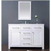 48'' W Milan Bathroom Vanity Set: Counter Top, Sink Cabinet & Mirror In Pure White