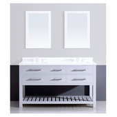 59'' W Bohemian Solid Wood Framed Bathroom Vanity Base Cabinet With Plywood Interior, Mdf Drawers And Bottom Open Shelf, Pure White Finished With Self Soft Closing Undermount Slides In Pure White