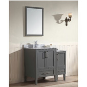 Ross Series 36-13/16'' Wide Single Vanity Set (Counter Top, Cabinet, Backsplash, Linen Cabinet, Linen Countertop & Mirror, Cabinet w/ Carrara White Marble Top) Dark Grey Finish