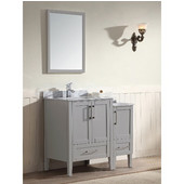 Ross Series 36-13/16'' Wide Single Vanity Set (Counter Top, Cabinet, Backsplash, Linen Cabinet, Linen Countertop & Mirror, Cabinet w/ Carrara White Marble Top) Light Grey Finish