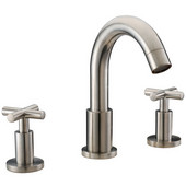 3-Hole Widespread Lavatory Faucet with Cross Handles For 8'' Centers and Pull-Up Drain With Lift Rod, Brushed Nickel Finish