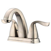 2-Hole, 2-Handle Center set Lavatory Faucet For 4'' Centers and Pull-Up Drain with Lift Rod, Brushed Nickel Finish