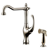 2 Hole Single-Lever Kitchen Faucet with Side-Spray, Brushed Nickel Finish