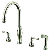 4 Hole 3-Hole, 2-Handle Widespread Kitchen Faucet with Side Spray, Brushed Nickel Finish