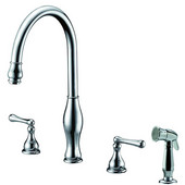 4 Hole 3-Hole, 2-Handle Widespread Kitchen Faucet with Side Spray, Chrome Finish