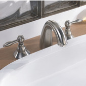 3-Hole, 2-Handle Widespread Lavatory Faucet and Pull-Up Drain with Lift Rod, Brushed Nickel Finish