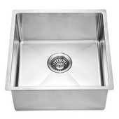 17-3/16''W x 17-3/16''D x 9''H, Undermount Single Bowl Bar Sink in Polished Satin Finish