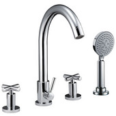 Product Width: 5-47/50'' to 7-22/25'' (hole spacing)<br> Height: 13-9/16''H, 4-hole Tub Filler with Personal Handshower and Cross Handles, Chrome