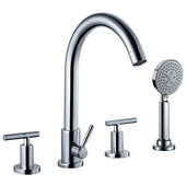 Product Width: 5-47/50'' to 7-22/25'' (hole spacing)<br> Height: 13-9/16''H, 4-hole Tub Filler with Personal Handshower and Lever Handles, Chrome