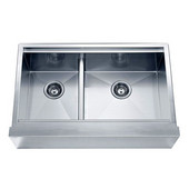 33''W x 21''D x 10''H, Undermount Double Bowl with Straight Apron Front Sink (Small Bowl on Left) in Polished Satin Finish