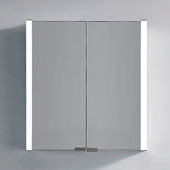 LED Backlit Two Door Medicine Cabinet with Horizontal Matte Aluminum and IR Sensor, 25-9/16'' W x 5-5/16'' D x 27-9/16'' H