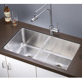 32''W x 18-1/2''D x 10-3/8''H, Undermount Single to Double Combination Bowl Sink with Removable Acrylic Glass Divider (PD1717) in Polished Satin Finish