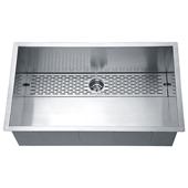 32'' Undermount Single Bowl 18 Gauge Stainless Steel Kitchen Sink in Polished Satin Finish, 32'' W x 18-7/8'' D x 10-1/2'' H