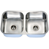 Economy Equal Double Bowl Stainless Steel Sink 30-1/2'' W x 7-7/8'' D x 18-1/8'' H