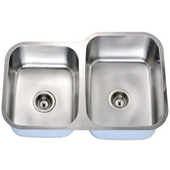 Economy Double Bowl Stainless Steel Sink 31-9/16'' W x 9-7/16'' D x 20-1/2'' H Small Bowl on Left Side