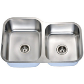 Economy Double Bowl Stainless Steel Sink 31-9/16'' W x 9-7/16'' D x 20-1/2'' H Small Bowl on Right Side