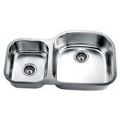 Economy Double Bowl Stainless Steel Sink 32-13/16'' W x 7-3/4'' D x 20-1/2'' H Small Bowl on Left Side