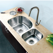 Economy Double Bowl Stainless Steel Sink 32-13/16'' W x 7-3/4'' D x 20-1/2'' H Small Bowl on Right Side