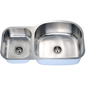 Economy Double Bowl Stainless Steel Undermount Sink 34-3/4'' W x 10'' D x 19-5/8'' H Small Bowl on Left Side
