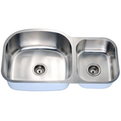 Economy Double Bowl Stainless Steel Undermount Sink 34-3/4'' W x 10'' D x 19-5/8'' H Small Bowl on Right Side
