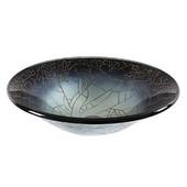 17-1/4'' Diameter Tempered Glass Round Vessel Sink, Black & White Finish, 17-1/4'' Diameter x 5-1/2''H