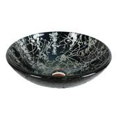 16-1/2'' Diameter Tempered Glass Round Vessel Sink, Black Finish, 16-1/2'' Diameter x 5-1/2''H