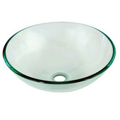 Tempered Glass Round Vessel Sink in Naturally Clear Glass, 16-1/4'' Diameter