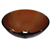 Tempered Glass Round Vessel Sink in Brown Glass, 16-1/4'' Diameter