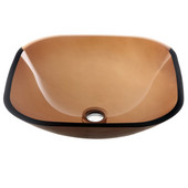 16-1/4''W Square Tempered Glass Bathroom Vessel Sink, Brown
