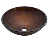 16-1/2'' Diameter Round Tempered Glass Bathroom Vessel Sink, Hand Painted Brown