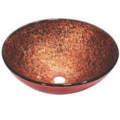 16-1/2'' Diameter Round Tempered Glass Bathroom Vessel Sink, Hand Painted Pink And Brown