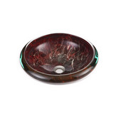 16-1/4'' Diameter Tempered Glass Round Vessel Sink, Brown Finish, 16-1/4'' Diameter x 5''H