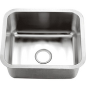 Single Series Stainless Steel Undermount Sink, 21-1/16''W x 18-1/8''D x 10''H