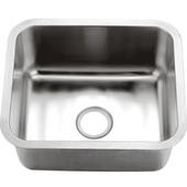 Single Series Stainless Steel Undermount Sink, 21-1/16''W x 18-1/8''D x 10''H