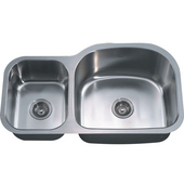 Combination Series 35''W Stainless Steel Undermount Sink, Large Bowl Right