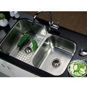 Combination Series 31-7/8''W Stainless Steel Undermount Sink, Large Bowl Left