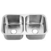 Combination Series Stainless Steel Undermount Sink, 30-3/4''W x 18-1/2''D x 8-3/4''H Double Basin
