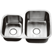 Combination Series 30''W Stainless Steel Undermount Sink, Large Bowl Right