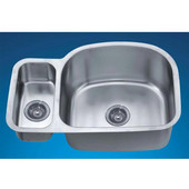 Combination Series 30''W x 20''D x 10''H Stainless Steel Undermount Sink, Large Bowl Right