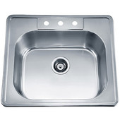 Single Drop In Series Stainless Steel Top Mount Sink, 24-3/4''W X 22''D x 8''H