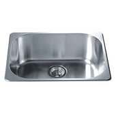 Single Drop In Series Stainless Steel Top Mount Sink, 22''W X 17-3/4''D x 8''H