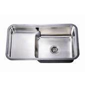 Single Series Stainless Steel Undermount Sink, 33''W x 18-1/2''D x 10''H
