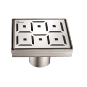 5'' W Congo-Chambeshi River Series Stainless Steel Square Shower Drain in Polished Satin Finish, 5-1/4'' W x 5-1/4'' D x 3-3/8'' H