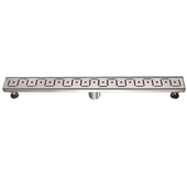 32'' Congo-Chambeshi River Series Linear Shower Drain in Polished Satin Finish, 32'' W x 3'' D x 3-1/8'' H