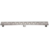 36'' Congo-Chambeshi River Series Linear Shower Drain in Polished Satin Finish, 36'' W x 3'' D x 3-1/8'' H